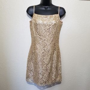 Jessica McClintock  Gold lace mini dress